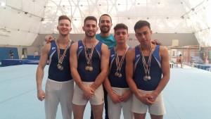 Iacoacci, Pileri, Dimeo e Taloni con il Tecnico Baggetta